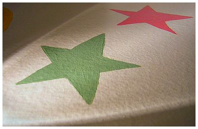 Stars on the border painted to match the pattern from the Eddie Bauer baby bedding called 'believing in dreams'.